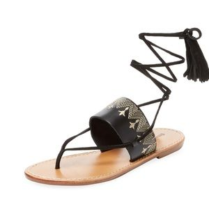 SOLUDOS Embroidered Leather Lace-up Sandals 7